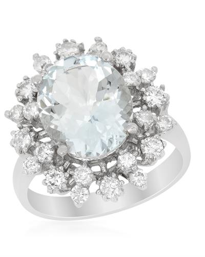 Brand New Ring with 4.5ctw of Precious Stones - aquamarine and diamond 14K White gold
