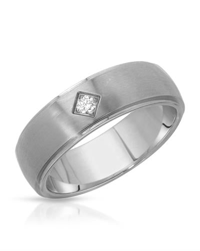 TeNo Brand New Ring with 0.04ctw diamond  Metallic Stainless steel