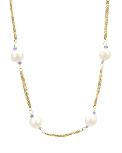 PEARL LUSTRE Brand New Necklace with 2ctw of Precious Stones - pearl and tanzanite 14K Yellow gold