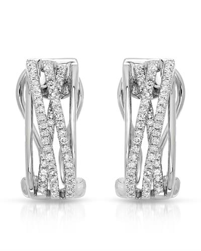 Whitehall Brand New Earring with 0.38ctw diamond 14K White gold