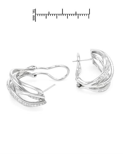 Brand New Earring with 1.36ctw diamond 14K White gold