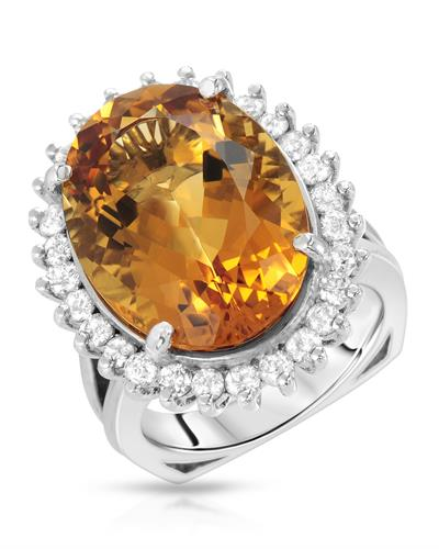 Brand New Ring with 14.25ctw of Precious Stones - citrine and diamond 14K White gold