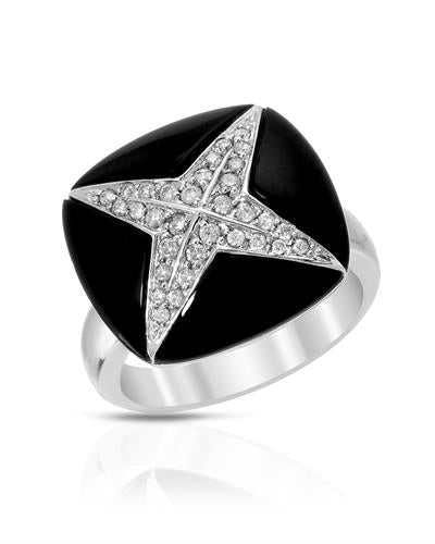 Lundstrom Brand New Ring with 0.3ctw of Precious Stones - diamond and onyx 14K White gold