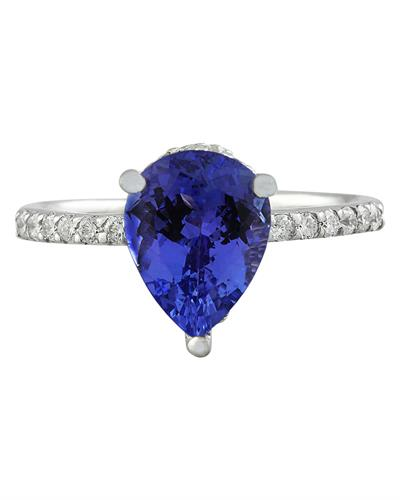 Brand New Ring with 2.95ctw of Precious Stones - diamond and tanzanite 14K White gold