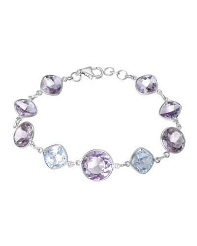 Brand New Bracelet with 34.21ctw of Precious Stones - amethyst and topaz 925 Silver sterling silver