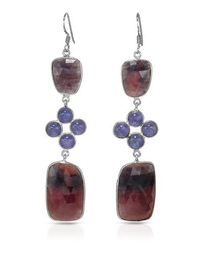 Brand New Earring with 64.25ctw of Precious Stones - sapphire and tanzanite 925 Silver sterling silver