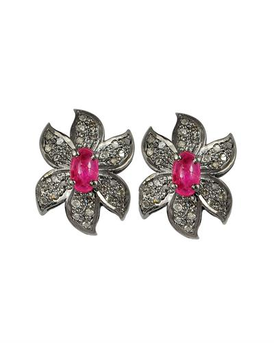 Brand New Earring with 0.97ctw of Precious Stones - diamond and ruby 925 Black sterling silver