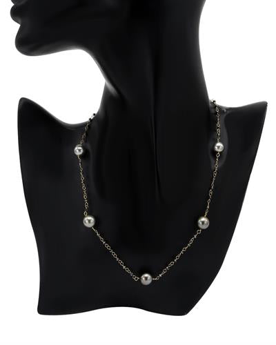 PEARL LUSTRE Brand New Necklace with 4.9ctw of Precious Stones - diamond and pearl 14K Yellow gold
