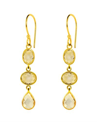 Brand New Earring with 20ctw citrine 14K/925 Yellow Gold plated Silver
