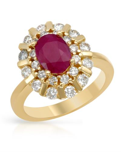 Brand New Ring with 2.3ctw of Precious Stones - diamond and ruby 14K Yellow gold