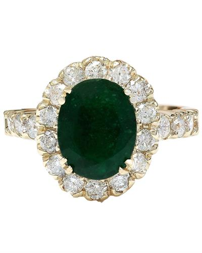 2.86 Carat Natural Emerald 14K Solid Yellow Gold Diamond Ring