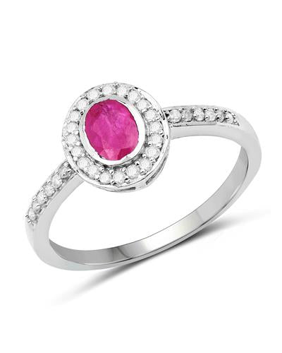 Brand New Ring with 0.65ctw of Precious Stones - diamond and ruby 10K White gold