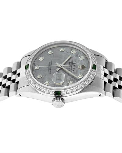 Rolex PreOwned Automatic date Watch with 1.2ctw of Precious Stones - diamond and emerald