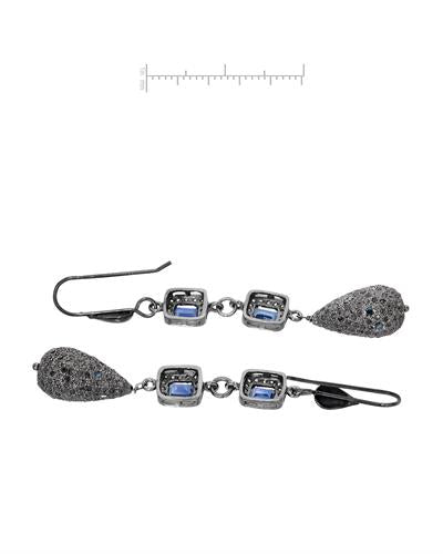 Brand New Earring with 3.46ctw of Precious Stones - diamond, diamond, and sapphire 925 Black sterling silver