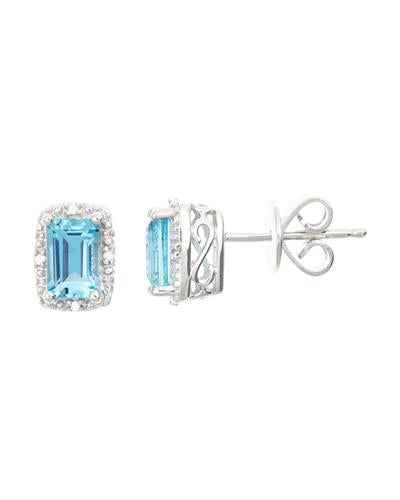 Brand New Earring with 1.32ctw of Precious Stones - diamond and topaz 925 Silver sterling silver