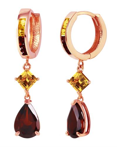 Magnolia Brand New Earring with 5.15ctw of Precious Stones - citrine and garnet 14K Rose gold