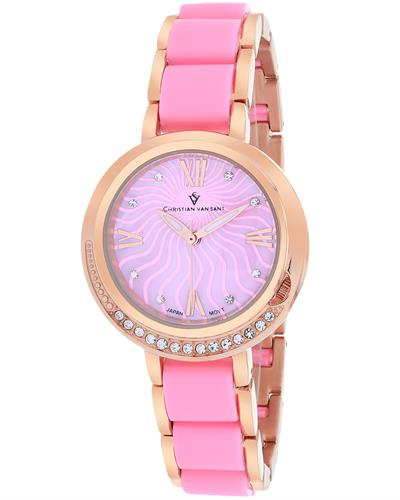 Christian Van Sant CV7613 Eternelle Brand New Quartz Watch with 0ctw of Precious Stones - crystal and mother of pearl