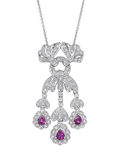 Julius Rappoport Brand New Necklace with 1.35ctw of Precious Stones - diamond and ruby 18K White gold