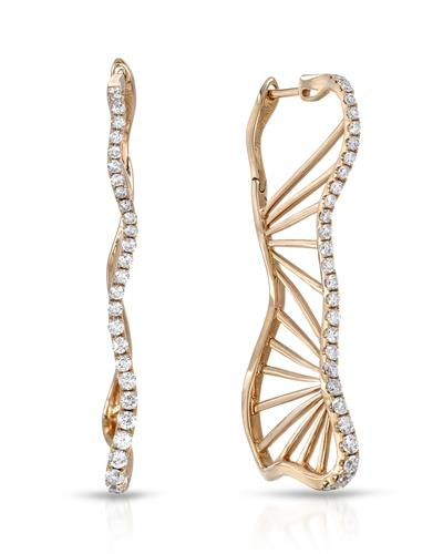 Julius Rappoport Brand New Earring with 0.76ctw diamond 18K Rose gold