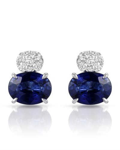 Julius Rappoport Brand New Earring with 5ctw of Precious Stones - diamond and sapphire 18K White gold