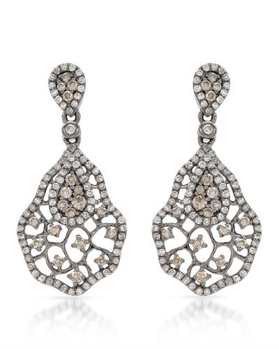 Brand New Earring with 1.18ctw of Precious Stones - diamond and diamond 14K Black gold