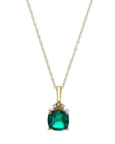 Brand New Necklace with 1.12ctw of Precious Stones - diamond and emerald 10K Yellow gold