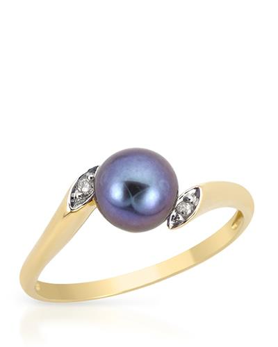 PEARL LUSTRE Brand New Ring with 0.02ctw of Precious Stones - diamond and pearl 14K Yellow gold