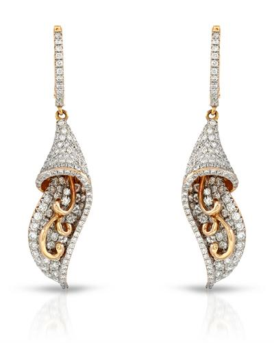 Julius Rappoport Brand New Earring with 1.92ctw diamond 18K Rose gold