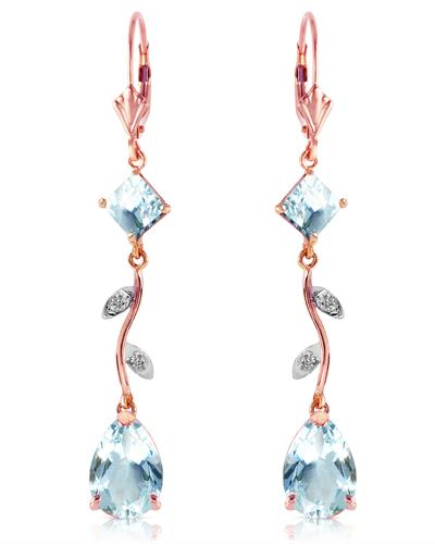 Magnolia Brand New Earring with 3.97ctw of Precious Stones - aquamarine and diamond 14K Rose gold