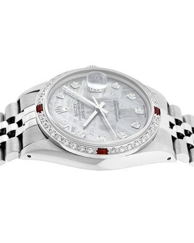 Rolex PreOwned Automatic date Watch with 1.2ctw of Precious Stones - diamond and ruby