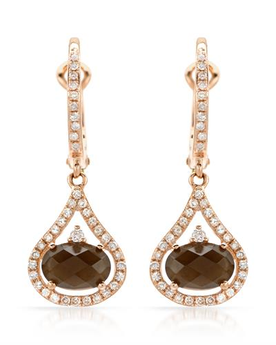 Brand New Earring with 1.94ctw of Precious Stones - diamond and topaz 14K Rose gold