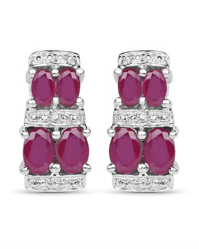 Brand New Earring with 3.2ctw ruby 925 Silver sterling silver