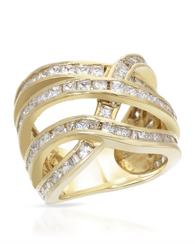 Brand New Ring with 0ctw cubic zirconia 14K/925 Yellow Gold plated Silver