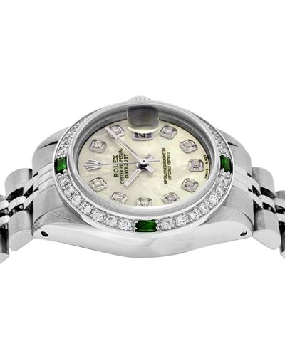 Rolex PreOwned Automatic (Self Winding) date Watch with 0.85ctw of Precious Stones - diamond, emerald, and mother of pearl