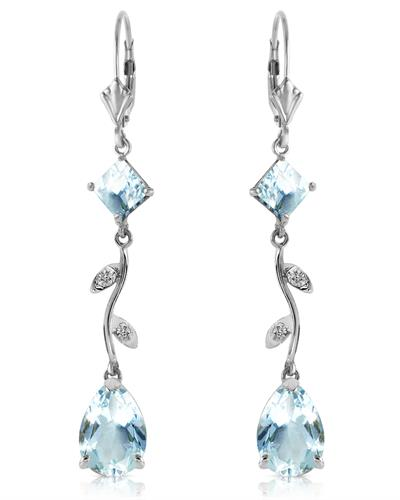 Magnolia Brand New Earring with 3.97ctw of Precious Stones - aquamarine and diamond 14K White gold