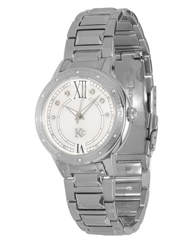 KC Brand New Japan Quartz Watch with 0.06ctw of Precious Stones - crystal, diamond, and mother of pearl