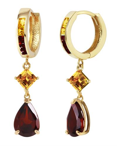 Magnolia Brand New Earring with 5.15ctw of Precious Stones - citrine and garnet 14K Yellow gold