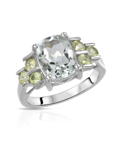 Brand New Ring with 3.45ctw of Precious Stones - amethyst and peridot 925 Silver sterling silver