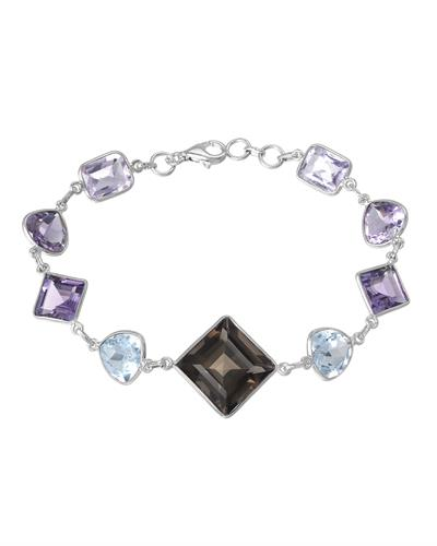 Brand New Bracelet with 36.23ctw of Precious Stones - amethyst, quartz, and topaz 925 Silver sterling silver
