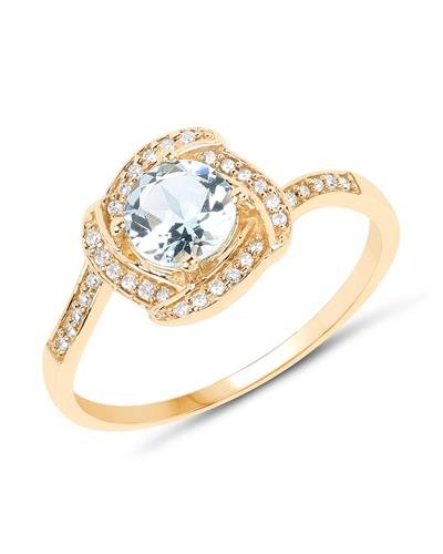 Brand New Ring with 0.66ctw of Precious Stones - aquamarine and diamond 14K Yellow gold