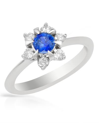 Brand New Ring with 0.75ctw of Precious Stones - diamond and tanzanite 14K White gold