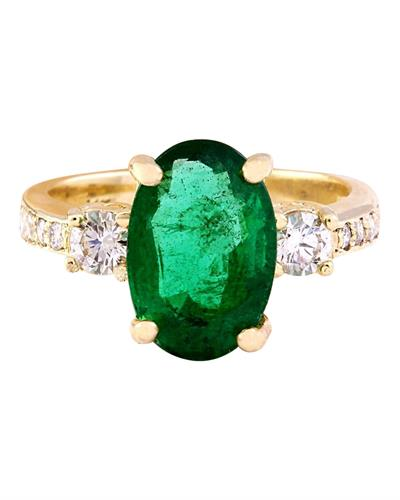 4.60 Carat Natural Emerald 14K Solid Yellow Gold Diamond Ring