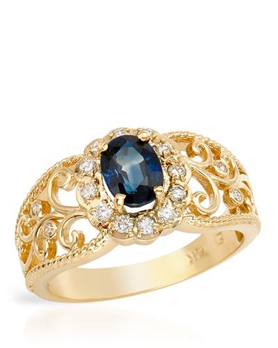 Brand New Ring with 1.2ctw of Precious Stones - diamond and sapphire 14K Yellow gold