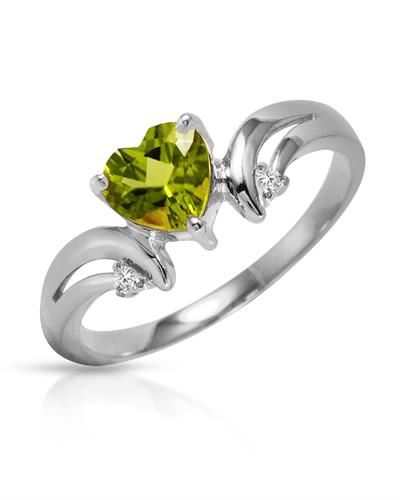 Magnolia Brand New Ring with 1.26ctw of Precious Stones - diamond and peridot 14K White gold