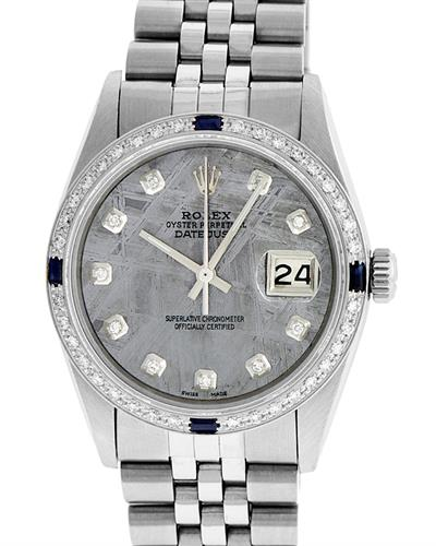 Rolex PreOwned Automatic date Watch with 1.2ctw of Precious Stones - diamond and sapphire