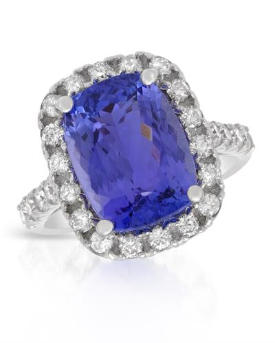 Brand New Ring with 8.23ctw of Precious Stones - diamond and tanzanite 14K White gold