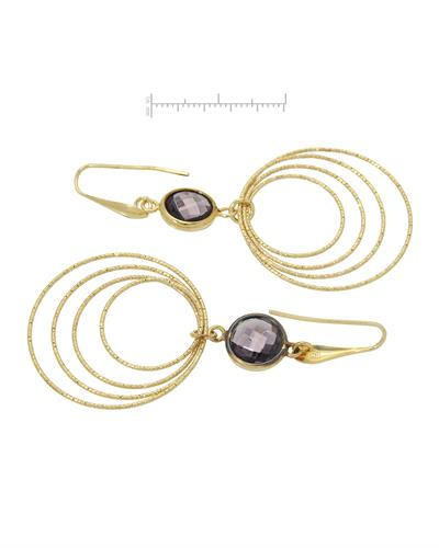 Millana Brand New Earring with 0ctw simulated gems 14K/925 Yellow Gold plated Silver
