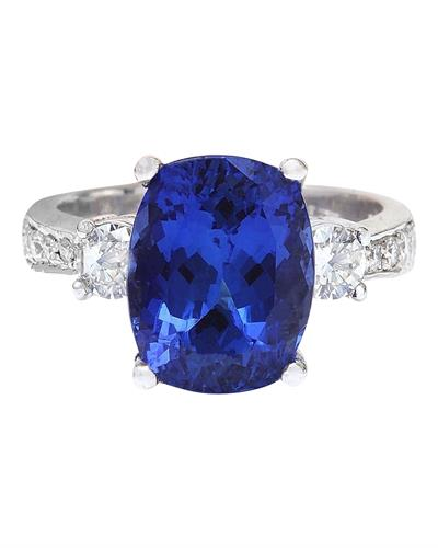 Brand New Ring with 6.83ctw of Precious Stones - diamond and tanzanite 14K White gold