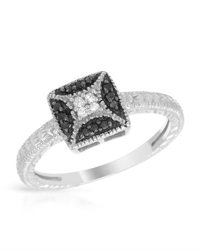 Brand New Ring with 0.1ctw of Precious Stones - diamond and diamond 925 Silver sterling silver