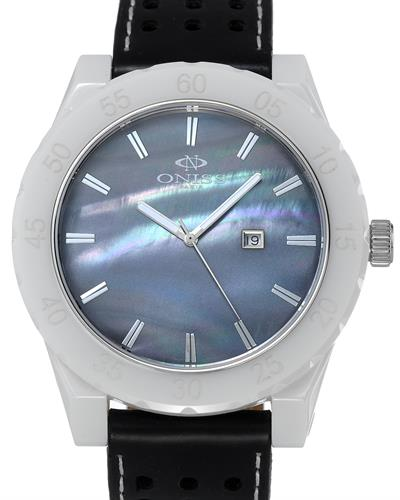 Oniss ON8174-M/BK Paris Brand New Swiss Quartz date Watch with 0ctw mother of pearl